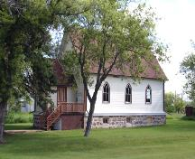 Primary elevations, from the southwest, of St. George's Anglican Church, Holmfield, 2005; Historic Resources Branch, Manitoba Culture, Heritage and Tourism 2005