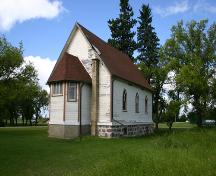 Contextual view, from the northeast, of St. George's Anglican Church, Holmfield, 2005; Historic Resources Branch, Manitoba Culture, Heritage and Tourism, 2005