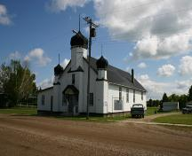 Corner view of Ukrainian Peoples Home of Ivan Franko, Angusville, 2004.; Historic Resources Branch, Manitoba Culture, Heritage & Tourism 2005
