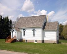 Primary elevation, from the south, of St. George's Anglican Church, Glenora, 2005; Historic Resources Branch, Manitoba Cultured, Heritage and Tourism 2005