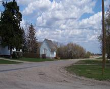 Contextual view, from the west, of St. George's Anglican Church, Glenora, 2005; Historic Resources Branch, Manitoba Culture, Heritage and Tourism 2005