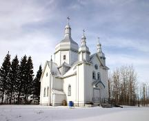 Primary elevations, from the southeast, of St. Nicholas Ukrainian Catholic Church, Rackham area, 2006; Historic Resources Branch, Manitoba Culture, Heritage and Tourism, 2005