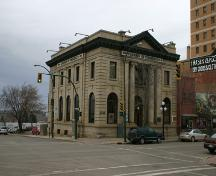 View of the main profile of the Merchants Bank Building, Brandon, 2005; Historic Resources Branch, Manitoba Culture, Heritage & Tourism, 2005