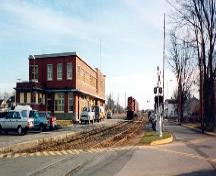 Panoramic view of the railroad yard and railway station, 1993.; Cliché Bergeron Gagnon inc., automne 1993.