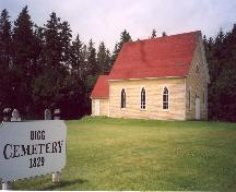 Showing Cemetery sign and side elevation with Gothic Revival windows; Province of PEI