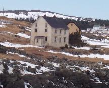 Photo view towards front gable end and right side of Robert Tilley House, Elliston, NL, 2007/03/26; L Maynard, HFNL, 2007