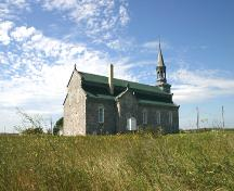 Contextual view, from the northeast, of Our Lady of Seven Sorrows Roman Catholic Church, Camperville, 2006; Historic Resources Branch, Manitoba Culture, Heritage and Tourism, 2006