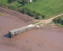 Aerial view of the Belliveau Village Wharf and the Petitcodiac River; Memramcook Valley Historical Society Inc.