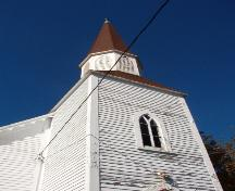 View of the square tower with its steeply-pitched spire, Spaniard's Bay, NL. Photo taken October 17, 2007; HFNL / Deborah O'Rielly 2007.