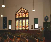 Interior view of east wall of Baldur United Church, Baldur, 2005; Historic Resources Branch, Manitoba Culture, Heritage and Tourism, 2005
