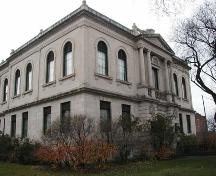 View, from the northeast, of the main elevations of the Carnegie Library, Winnipeg, 2004; Historic Resources Branch, Manitoba Culture, Heritage and Tourism, 2004