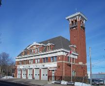 View from the southeast of the front elevations of the Brandon Central Fire Station, 2004; Historic Resources Branch, Manitoba Culture, Heritage & Tourism 2005