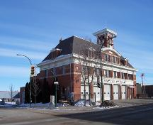 View from the southwest of the front elevations of the Brandon Central Fire Station, 2004; Historic Resources Branch, Manitoba Culture, Heritage & Tourism, 2005