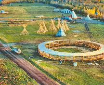 Aerial view of the Ehdaa National Historic Site of Canada, showing the Papal Grounds.; Culture and Communications, Government of the Northwest Territories, A Promise Fulfilled: The Visit of Pope John Paul II (Yellowknife: Government of the Northwest Territories, 1989), 59.