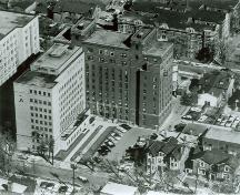 "Aerial view of the Women's College Hospital, showing wings identified  as ""A"", built in 1956, and ""B"", in 1935.; Women's College Hospital Archives/ Archives du Women's College Hospital."