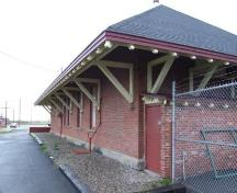 West elevation, CN Train Station, Sydney Mines, Nova Scotia, 2007. ; Heritage Division, NS Dept. of Tourism, Culture and Heritage, 2007.