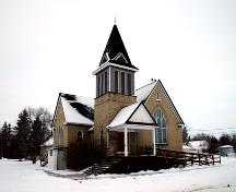 Primary elevations, from the southwest, of Elkhorn United Church, Elkhorn, 2005; Historic Resources Branch, Manitoba Culture, Heritage and Tourism 2006