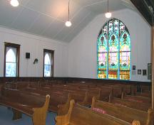 Interior view of Elkhorn United Church, Elkhorn, 2005; Historic Resources Branch, Manitoba Culture, Heritage and Tourism, 2005
