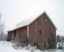 Primary elevation of a southwest view of the barn on the Armstrong Homestead, Boissevain area, 2005; Historic Resources Branch, Manitoba Culture, Heritage and Tourism, 2005