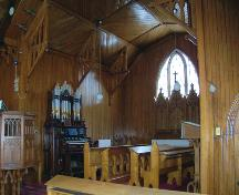 Interior view of chancel of St. Alban's Anglican Church, Oak Lake, 2005; Historic Resources Branch, Manitoba Culture, Heritage and Tourism, 2005