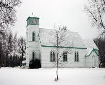 Primary elevation from the south southwest of St. Alban's Anglican Church, Oak Lake, 2005; Historic Resources Branch, Manitoba Culture, Heritage and Tourism, 2005