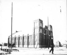 Exterior southeast view of the Red Deer Armoury / Fire Hall No.1 (1915); Red Deer and District Archives, MG 472-2