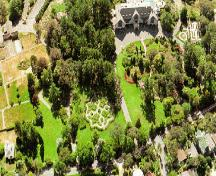 Aerial view of almost the entire property, ca. 2002.; The Cary Castel Mews. Government House. History, Preservation, Revitalization, Victoria, B.C., 2002.