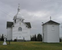 View of the Russo-Orthodox Church of the Transfiguration (Star Edna) Church and associated bell tower, Lamont County, looking east (October 2005); Lamont County, 2005