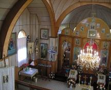 View of the interior of the Nativity of the Holy Virgin Orthodox Church of Kysylew, Lamont County, looking northeast from the choir loft (October 2005); Lamont County, 2005