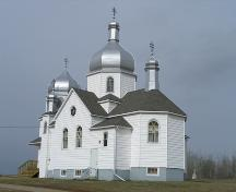 View of the Nativity of the Holy Virgin Orthodox Church of Kysylew, Lamont County, looking northwest (October 2005); Lamont County, 2005