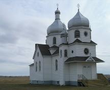 View of the Nativity of the Holy Virgin Orthodox Church of Kysylew, Lamont County, looking southeast (October 2005); Lamont County, 2005