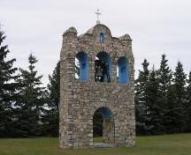 View of the 1935 bell tower associated with the Nativity of the Blessed Virgin Mary Ukrainian Greek Catholic Church, Leeshore, Lamont County, looking west (October 2005); Lamont County, 2005