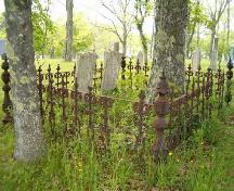 Detail of iron fence around headstones, Old Kirk Burying Ground, Shelburne, 2004.; Heritage Division, NS Dept. of Tourism, Culture and Heritage, 2004
