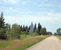 Contextual view, from the east, of St. Paul's Evangelical Lutheran Church, Moosehorn area, 2006; Historic Resources Branch, Manitoba Culture, Heritage and Tourism 2006