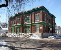 Primary elevations, from the northeast, of the North-End Police Substation, Winnipeg, 2006; Historic Resources Branch, Manitoba Culture, Heritage and Tourism, 2006
