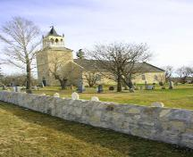 Primary elevations, from the south, of St. Andrew's on the Red Anglican Church, Lockport area, 2006; Historic Resources Branch, Manitoba Culture, Heritage and Tourism, 2006
