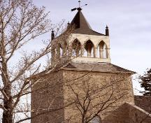 View of bell tower of St. Andrew's on the Red Anglican Church, Lockport area, 2006; Historic Resources Branch, Manitoba Culture, Heritage and Tourism, 2006
