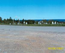 Photo view from the Lourdes Land Settlement Site area towards Roman Catholic parish cemetery, Lourdes, NL, 2007; Bill O'Gorman, 2007
