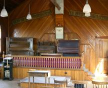 View of the choir platform in the Tamarisk United Church, (near Grandview), 2005; Historic Resources Branch, Manitoba Culture, Heritage and Tourism, 2005