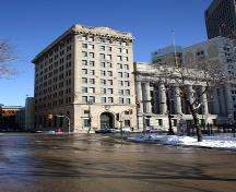 Contextual view, from the west, of the Bank of Hamilton, Winnipeg, 2006; Historic Resources Branch, Manitoba Culture, Heritage and Tourism, 2006