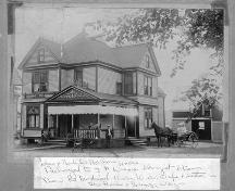 Historic photograph showing original entrance, 188 Granville Street West, Bridgetown, NS, circa 1900.; Courtesy the Bridgetown and Area Historical Society.