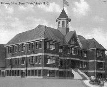 Exterior view, University School (historic photo).; Ron Green Collection.