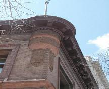 View of the corner turret of the Lake of the Woods Building, Winnipeg, 2004; Historic Resources Branch, Manitoba Culture, Heritage and Tourism, 2005
