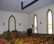 Interior of Mayne Corners Methodist Church, showing pews and altar; OHT