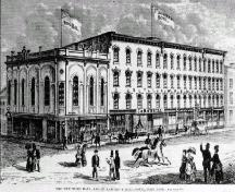 Historic drawing of building showing context in Walton Street streetscape – c. 1871; Canadian Illustrated News, 1871