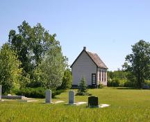 Contextual view, from the southwest, of Lily Bay United Church, Lundar area, 2006; Historic Resources Branch, Manitoba Culture, Heritage and Tourism, 2006