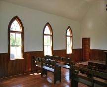 Interior view of Lily Bay United Church, Lundar area, 2006; Historic Resources Branch, Manitoba Culture, Heritage and Tourism, 2006