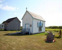 Primary elevations, from the northeast, of Peace Lutheran Church, Chatfield, 2006; Historic Resources Branch, Manitoba Culture,Heritage and Tourism 2006