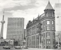 View of south façade showing corner tower details – August 1977; OHT, 1977
