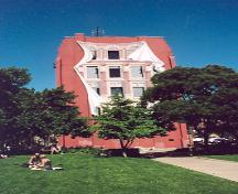 View of mural on west elevation designed in trompe l'oeil style – July 2001; OHT, 2001